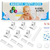 Eco-Baby Cabinet Locks for Babies - 6-Pack Magnetic Baby Proof Safety Latches, 2 Keys - Magnetic Baby Proof Lock for Cabinet