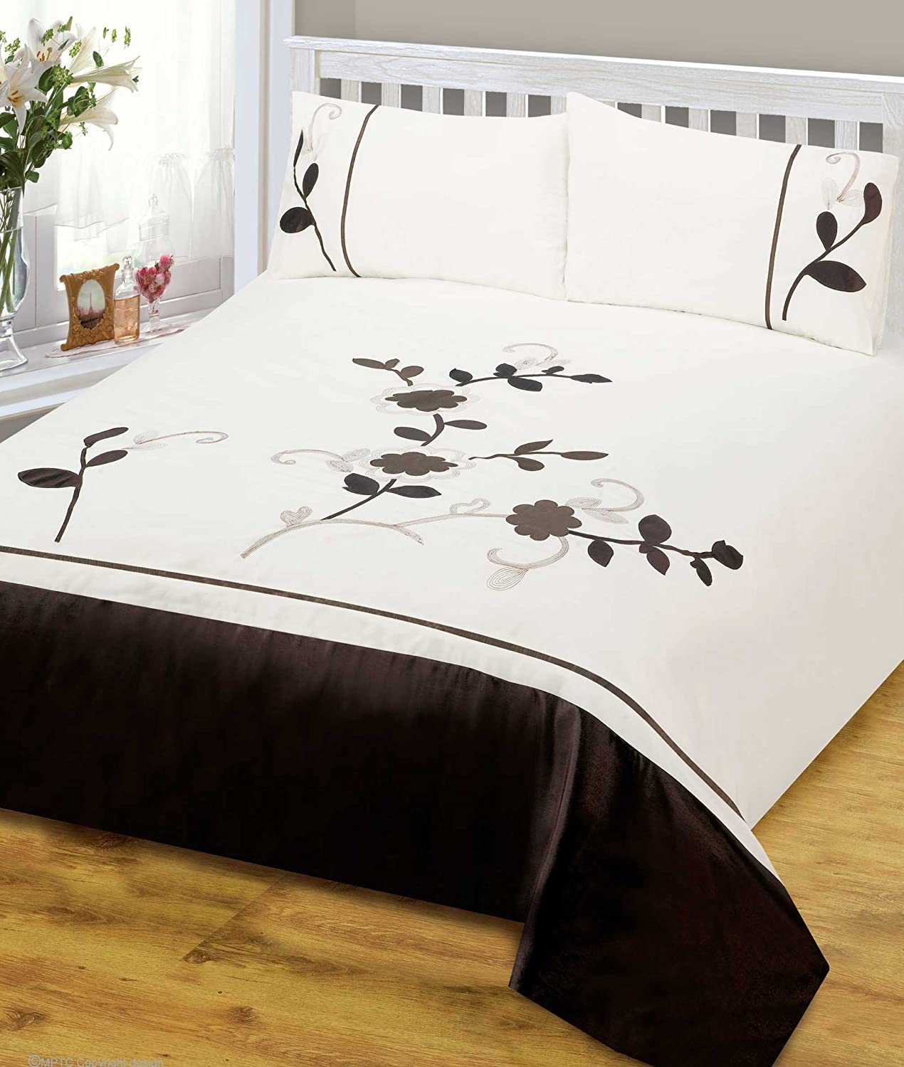 Designer Luxury Single Bed Tulisa Chocolate Brown Floral Duvet Cover Bedding Set- Tulisa Ashley Mills 5029497141169