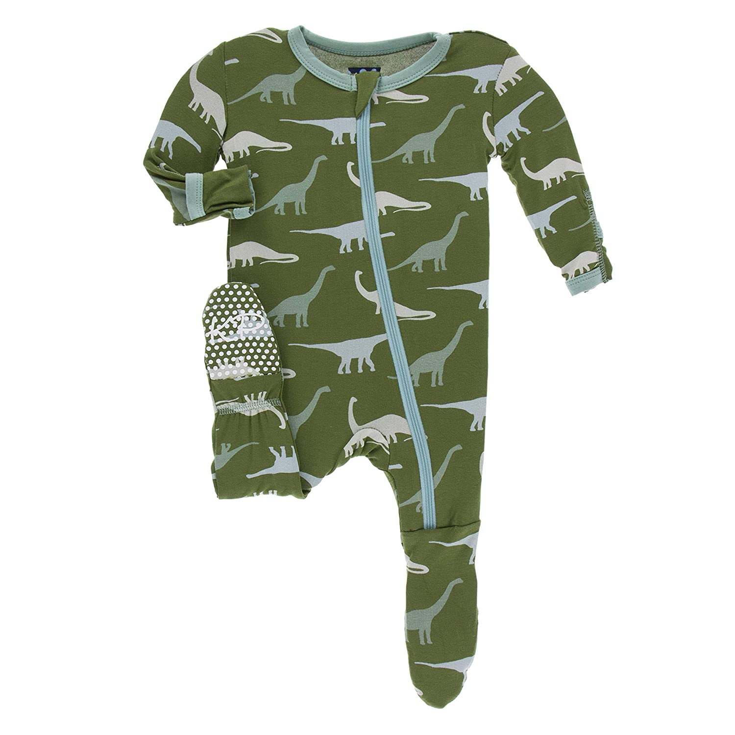Paleontology Collection KicKee Pants Print Footie with Zipper