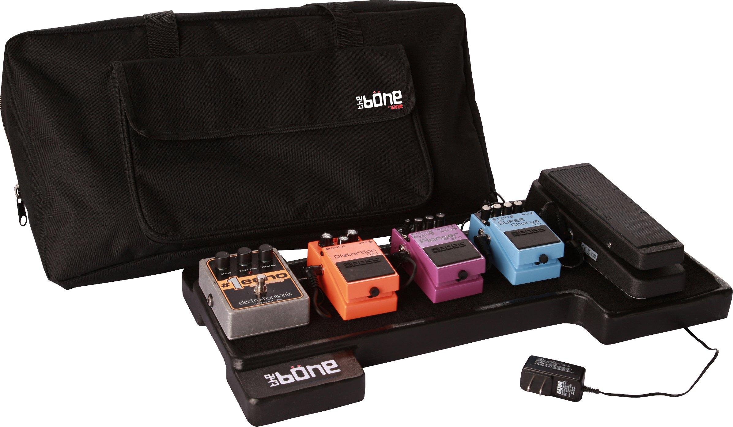 Gator Cases Bone Molded Polyethylene Guitar Pedal Board with Lightweight Carry Bag; USA Made, 23.75'' x 10.25'' x 2'' (G-BONE)