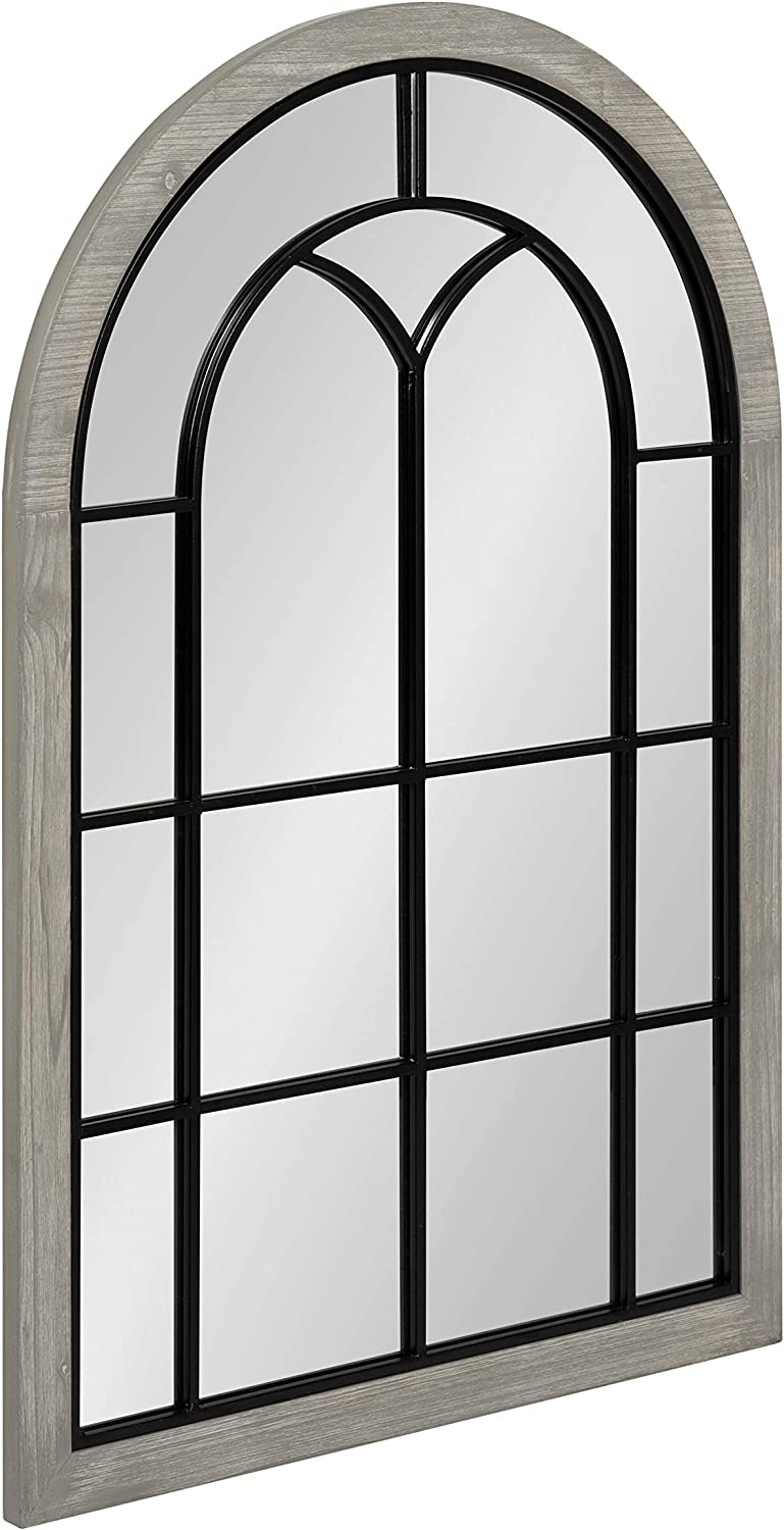 Kate and Laurel Joffrey Farmhouse Arched Mirror, 24 x 36, Rustic Gray, Traditional Window Wall Decor