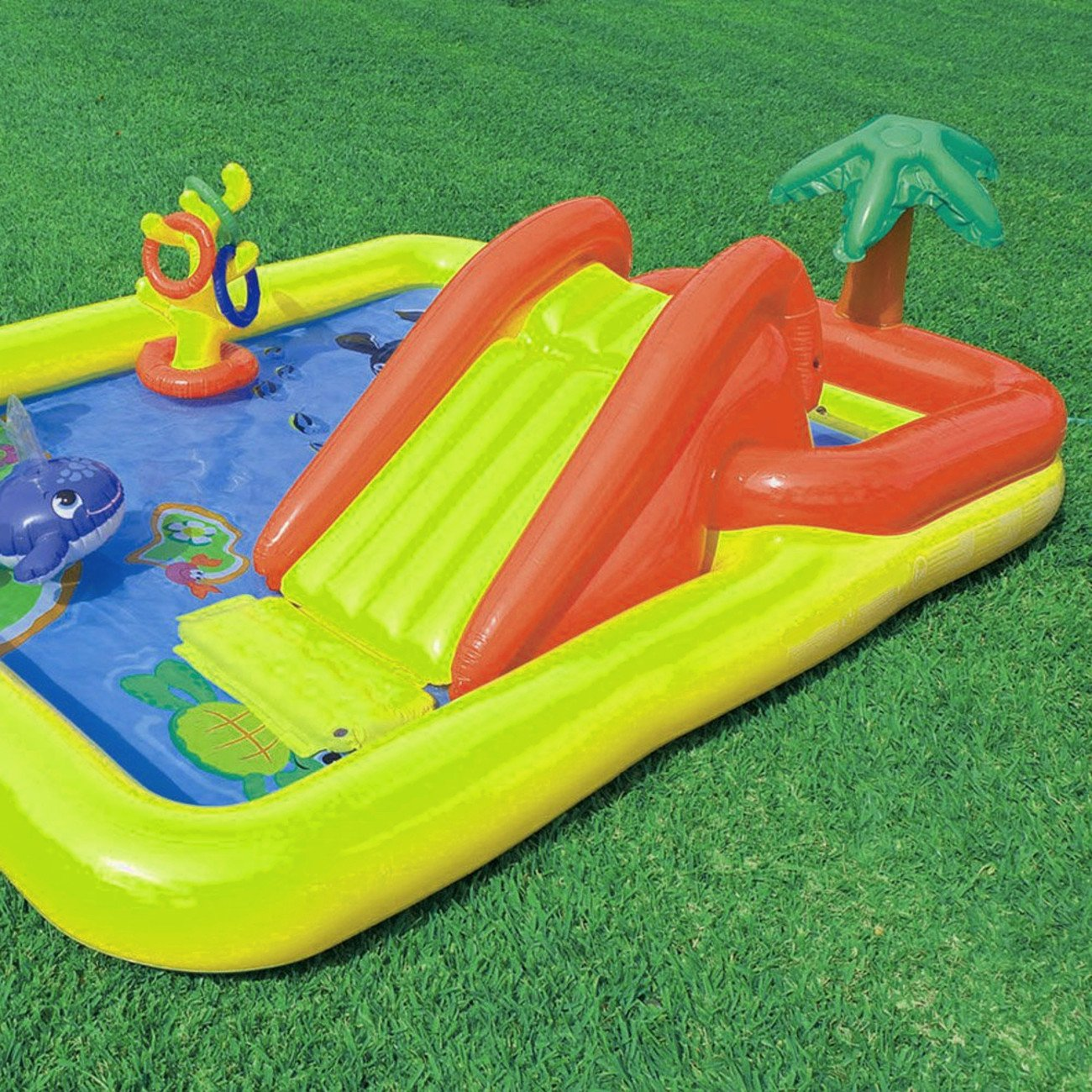 Inflatable Swim Platform, Ring Toss Game, Built-In Sprayer, Durable And High Resistant Construction, Lightweight, An Attractive And Modern Design, Multi Color, Easy Setup, Endless Fun & E-Book.