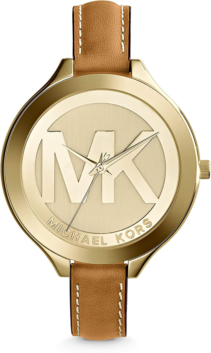 Michael Kors Mid-Size Luggage Leather Goldtone Stainless Steel Slim Runway Three-Hand Watch