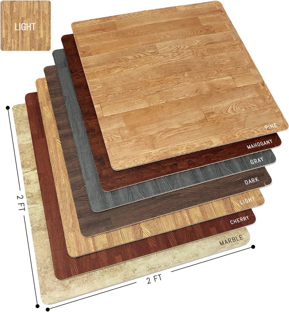 Sorbus Wood Grain Floor Mats Foam Interlocking Mats Tile 3/8-Inch Thick Flooring Wood Mat Tiles Borders - Home Office Playroom Basement Trade Show