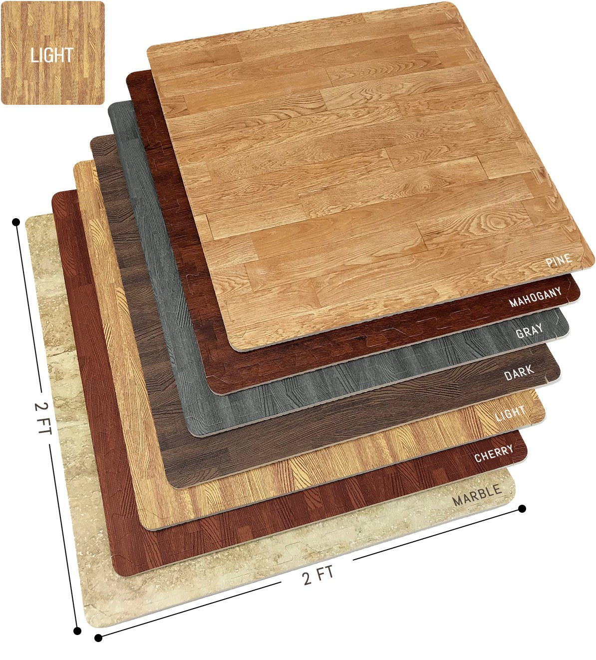 Sorbus Wood Floor Mats Foam Interlocking Wood Mats Each Tile 4 Square Feet 3/8-Inch Thick Puzzle Wood Tiles with Borders - for Home Office Playroom Basement (4 Tiles 16 Sq ft, Wood Grain - Light)