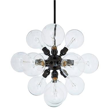 Rivet Modern Satellite 15 Globe Ceiling Pendant Chandelier Fixture With Light Bulbs - 9.75 x 9.75 x 44.75 Inches, Black