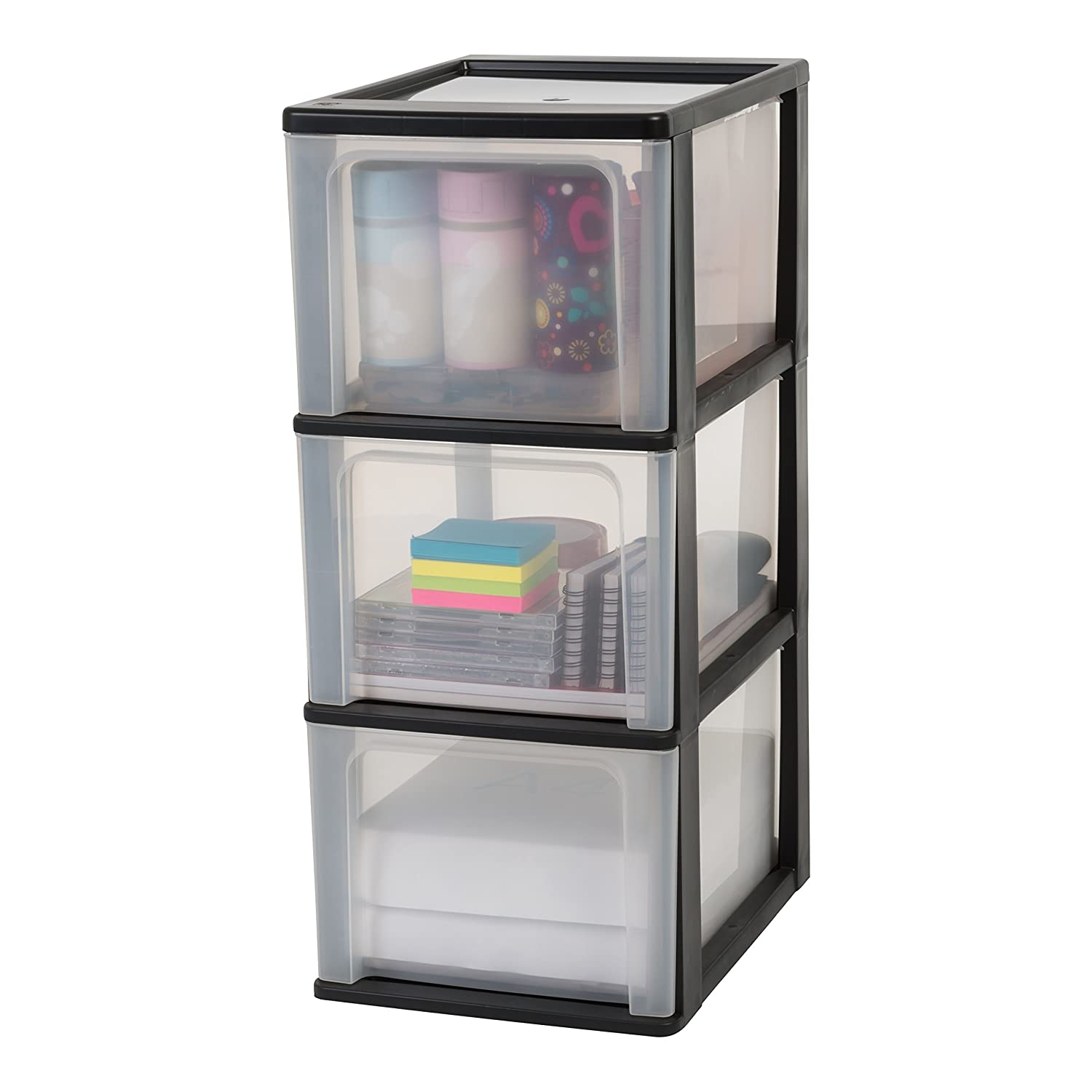 Iris Ohyama Europe A- 4 Chest with 3 (Without Wheels), Tower Unit six, Drawer Organiser, Plastic Office drawers-OCH-2300, Black 144005