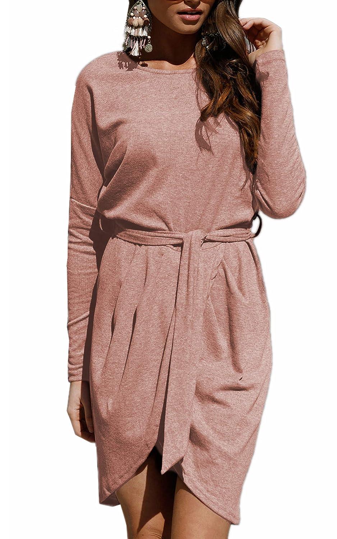 ECOWISH Damen Rundhals Kleid Beiläufiges Langarm Minikleid T-Shirt Kleid Mit Gürtel EH527