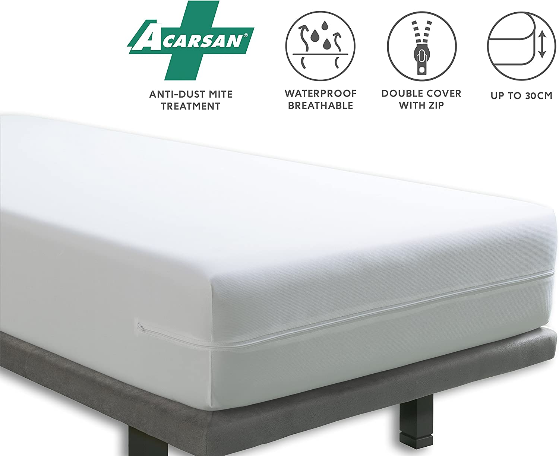 Tural – Funda colchón anti ácaros Impermeable y transpirable. Talla 135x200cm
