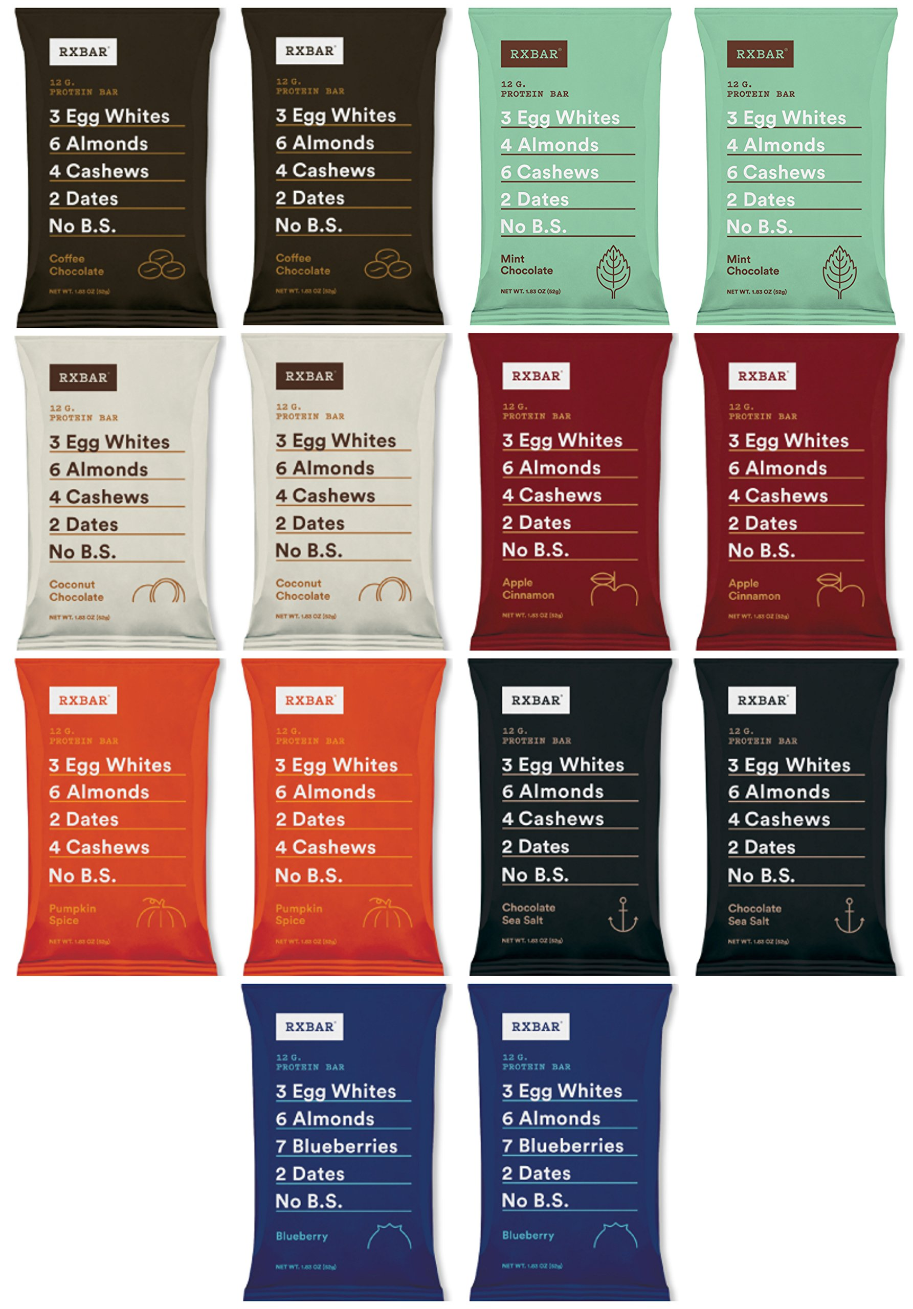 RxBar Real Food Protein Bars Variety Pack, 7 Flavors (Pack of 14),net weight 22 oz single bar 1.83 oz