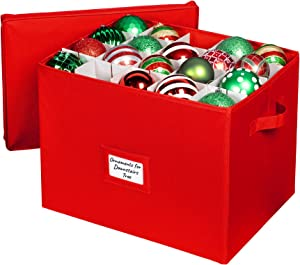 "Christmas Ornament Storage Container with Dividers – Extra Large Box Stores Up to 80-3"" Ornaments, Convenient, Adjustable Heavy Duty Durable 600D, Organizer Bin to Protect and Store Holiday Décor"