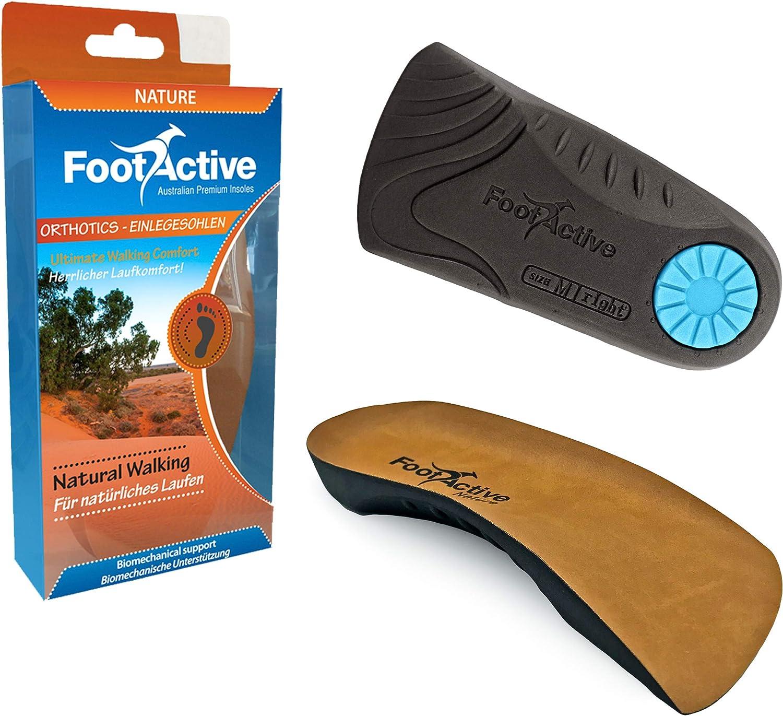 FootActive NATURE - Una suela de soporte del arco de longitud ¾ para aliviar la Fascitis Plantar, los dolores del talón, la rodilla y la espalda.
