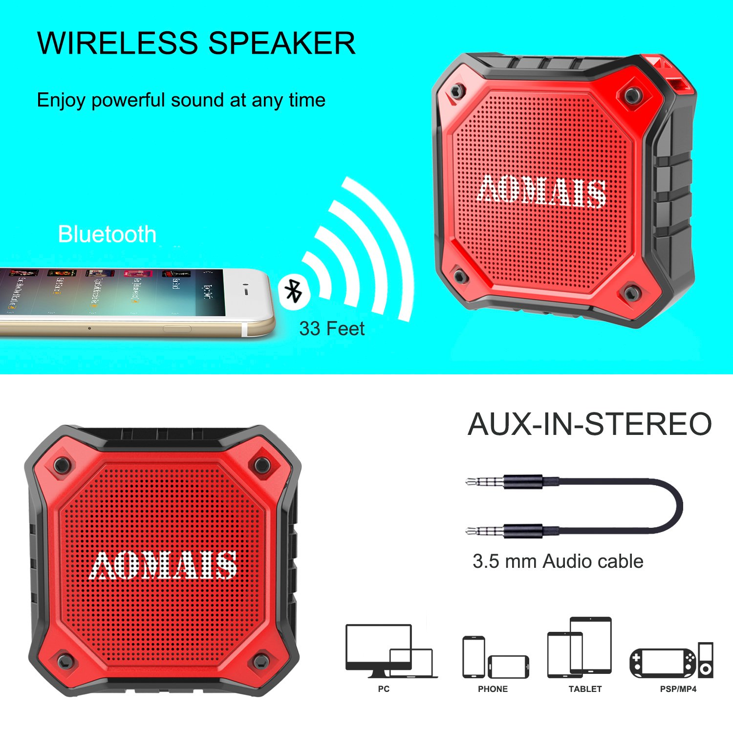 AOMAIS Ultra Portable Wireless Bluetooth Speakers 8W Loud Sound, Waterproof IPX7 Shower Speaker,Stereo Pairing Home Party, Outdoor, Beach, Travel (Red) by AOMAIS (Image #5)