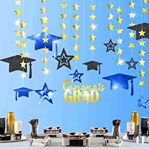 Cheerland Glitter Royal Blue Gold 2021 Graduation Party Decoration Kit Black Cap Decor Shiny Congrats Grad Banner Star Hat Garland Streamer Banner Backdrop Background for Ceiling Home Classroom