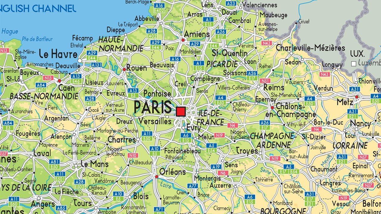 Francia mapa física – papel laminado – A0 tamaño 84,1 x 118.9 cm: Amazon.es: Oficina y papelería