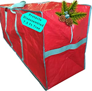 Christmas Tree Storage Bag - Large Tote Fits 7.5 ft Artificial Fake Tree - Modern Holiday Storage for Disassembled Xmas Trees