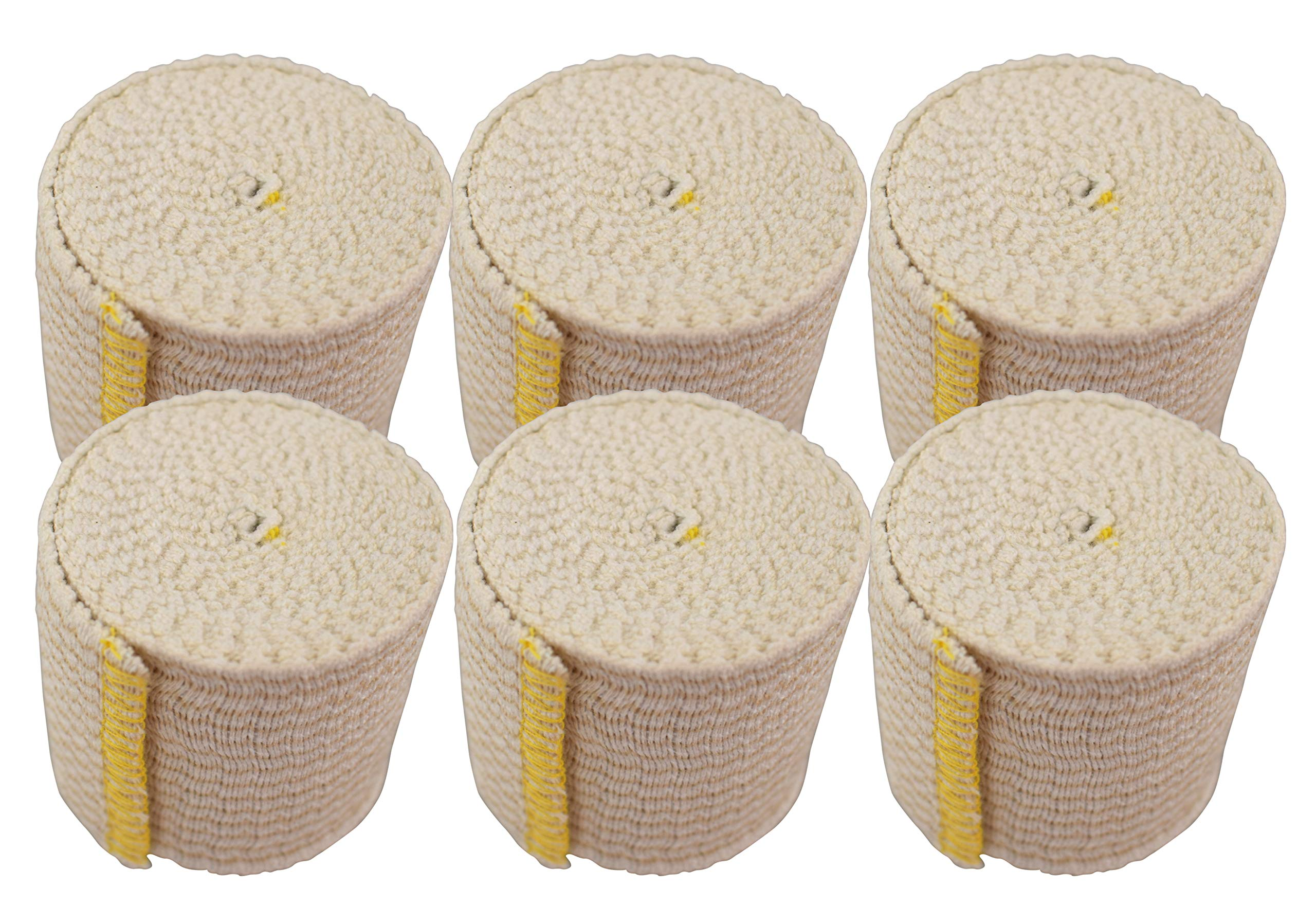 Nexskin Forever American Cotton Elastic Bandage Wrap with Hook and Loop Closure, 2'' Width (6 Pack)