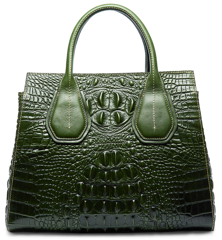 PIFUREN Classic Embossed Crocodile Genuine Leather Top Handle Satchel Handbags M1103(One Size, Green)