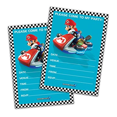 Gemma Nintendo Mario Kart 8 Paper Party Invitations (Pack Of 8) (One Size