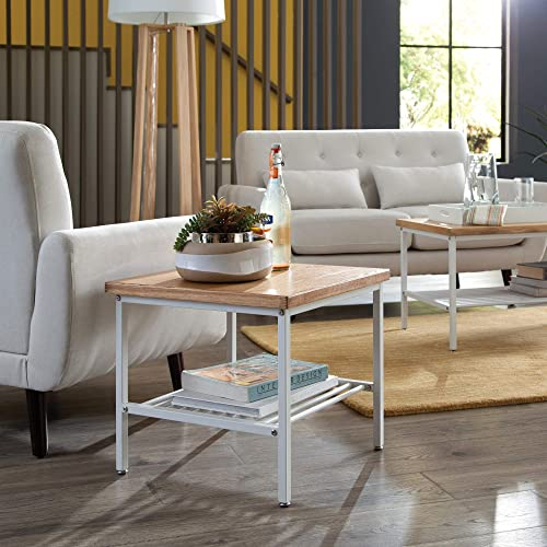 OFM 161 Collection Industrial Modern Wood Top Metal Frame Side Table with Metal Shelf, in White Natural