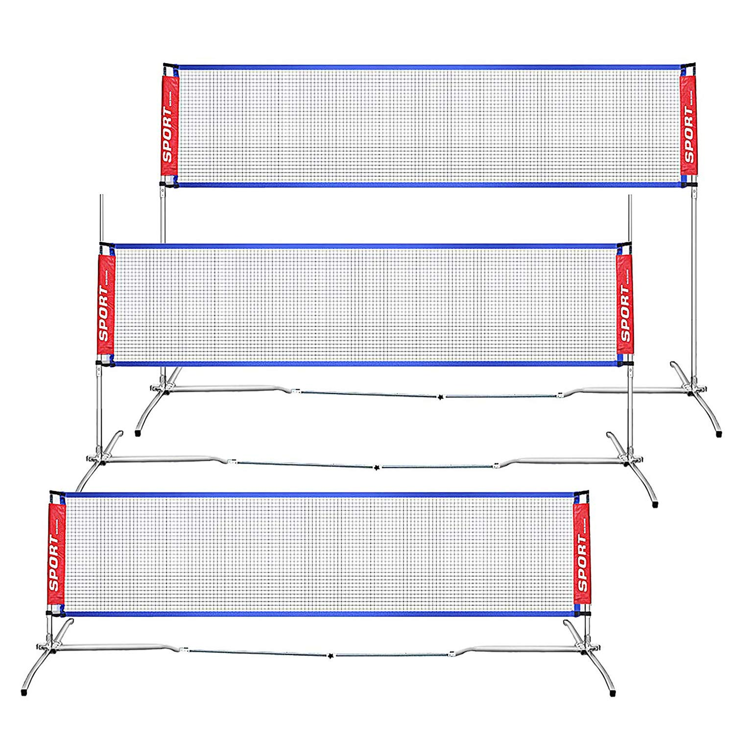 AKOZLIN Stainless Steel Portable Badminton Net Set - Net for Tennis, Soccer Tennis, Pickleball, Kids Volleyball for Indoor or Outdoor Court, Beach, Driveway