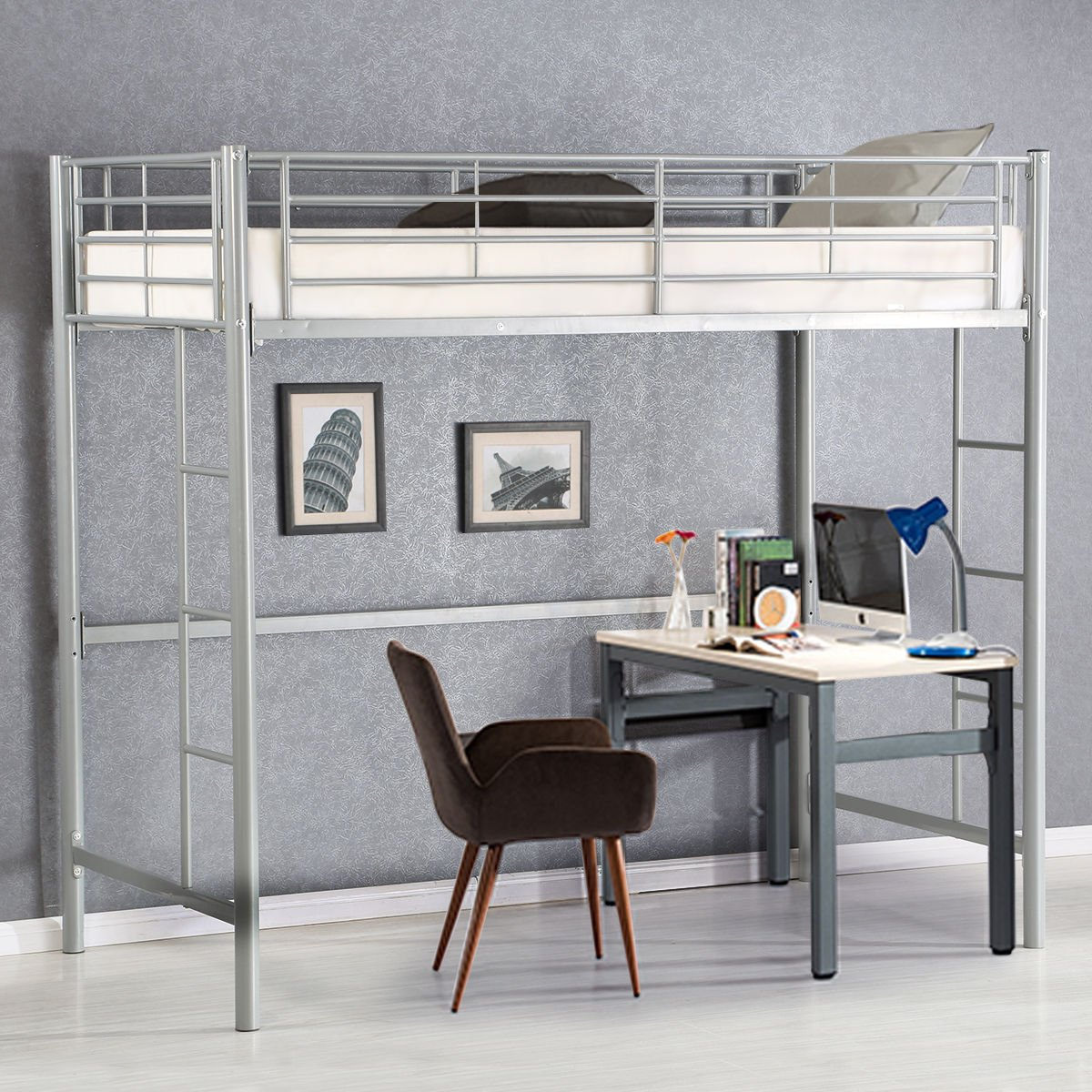 Costzon Twin Metal Loft Bed, Metal Bunk Bed with Ladders, Silver