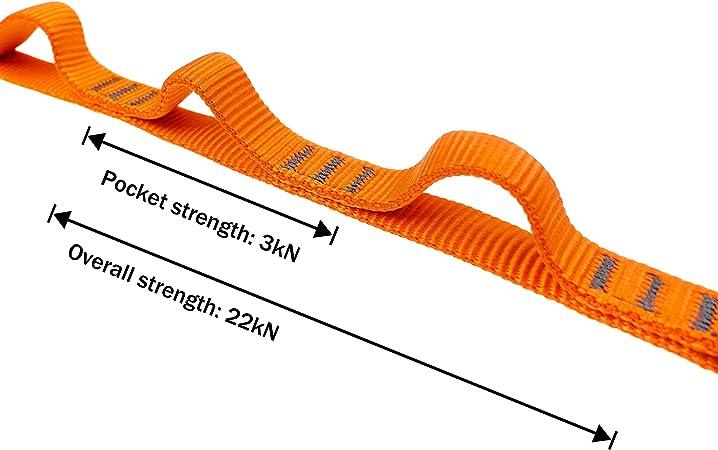 16 mm Catena di Sicurezza in Nylon 23 KN GM CLIMBING Sistema di Aiuto per Arrampicata 97 cm Doppia Imbracatura per Ancoraggio Personale certificata CE UIAA Sospensione Amaca