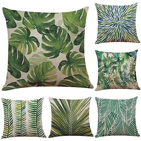 mstar 6 pieza verde planta Impreso costura almohada 45 x 45 ...