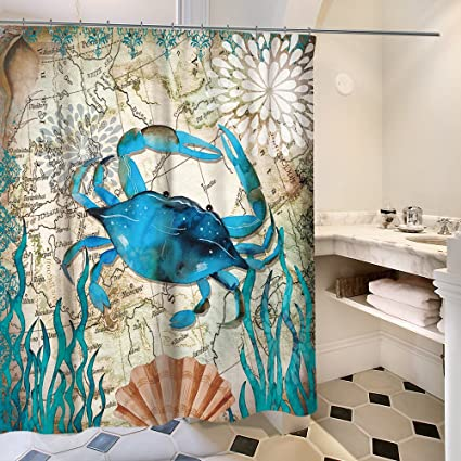 Amazon Nancy123 Shower Curtain Bathroom Waterproof Crab With 12