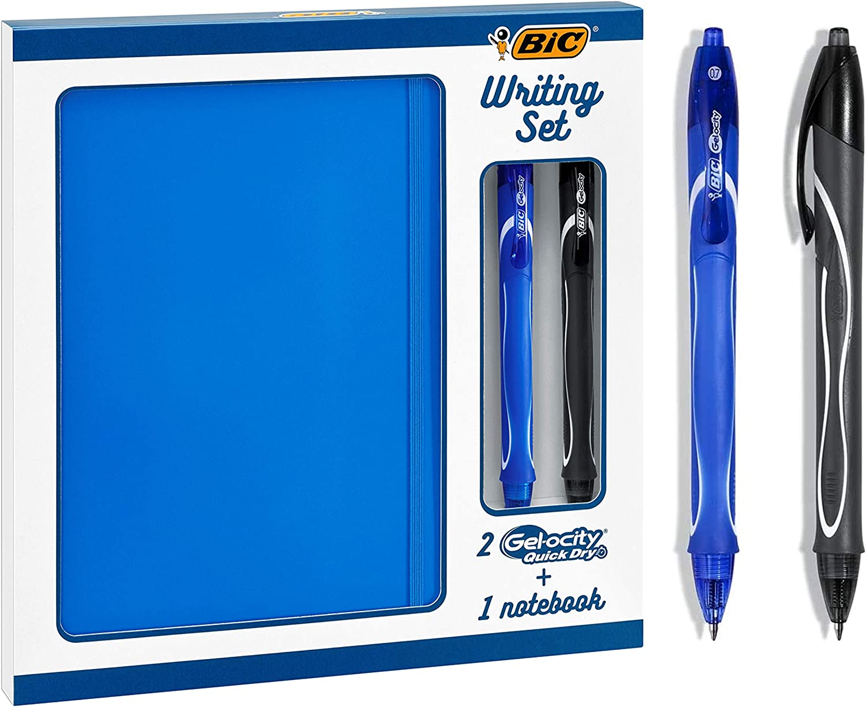 BIC Juego de Escritorio - 2 BIC Gel-ocity Quick Dry bolígrafos de Gel de punta media (0,7 mm) y 1 Libreta A5 Pautada, Set de Regalo, Pack de 3: Amazon.es: Oficina y papelería