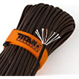 "TITAN SurvivorCord | 100 Foot Hank | Patented Military Type III 550 Paracord / Parachute Cord (3/16"" Diameter) with Integrated Fishing Line, Fire-Starter, and Snare Wire. FREE Paracord Projects eBook."