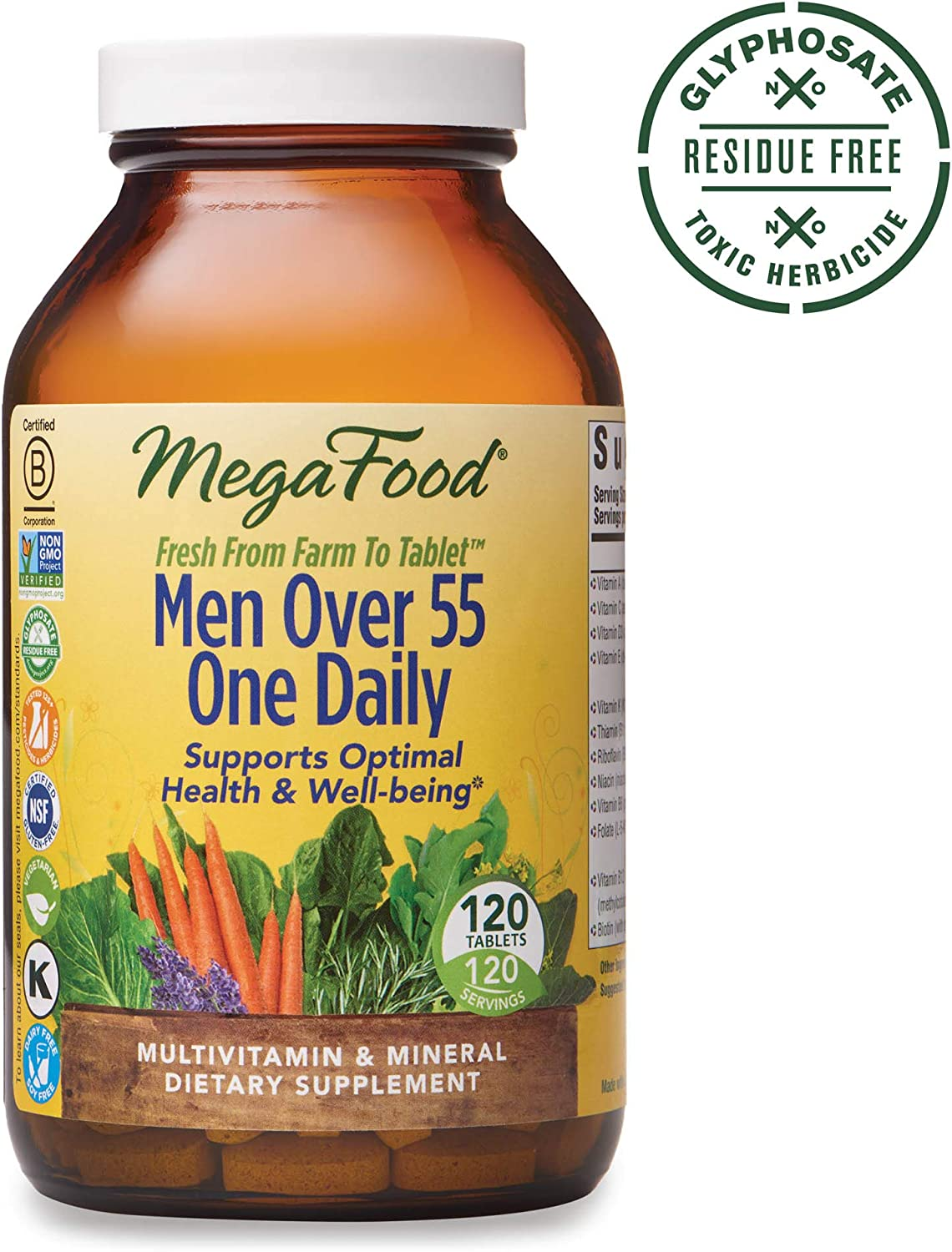MegaFood, Men Over 55 One Daily, Supports Optimal Health and Wellbeing, Multivitamin and Mineral Dietary Supplement, Vegetarian, 120 tablets 120 servings