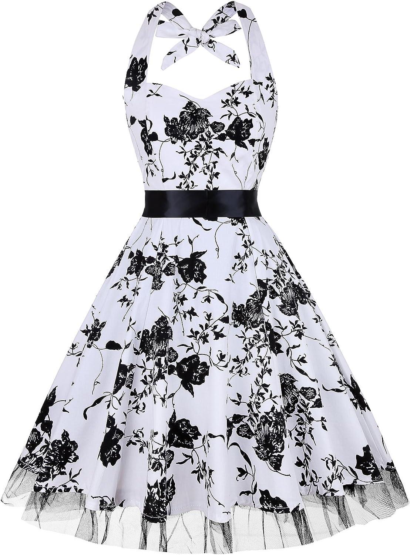 oten Womens Vintage Polka Dot Halter Dress 1950s Floral Sping Retro Rockabilly Cocktail Swing Tea Dresses