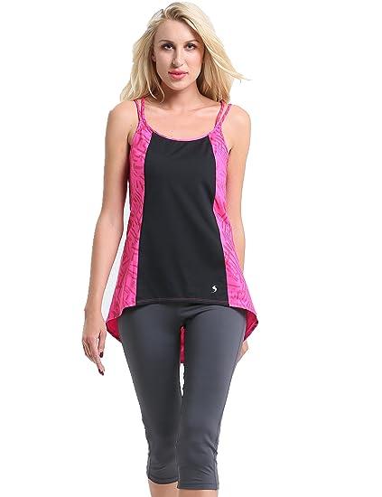 Amazon.com  Sunpotex Yoga Tops Activewear Workout Vest Tops w Double U Back  Fitness for Women (Black Pink a08ea228b9db