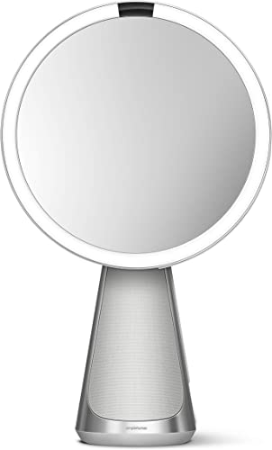 Introducing simplehuman Sensor Mirror Hi-Fi with Alexa, Superb Custom-Designed Audio, Extreme Color Accuracy, Touch Brightness Control, 5x Magnification