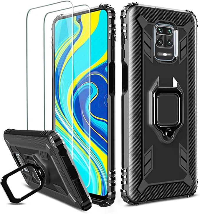 Milomdoi [Case with 2 pack] Cover for Xiaomi Redmi Note 9S /Redmi Note 9 Pro/Poco M2 Pro Case with HD Tempered Glass screen protector, 360 Case Ring Holder Kickstand, TPU Silicone Shockproof-Black: Amazon.co.uk: Electronics