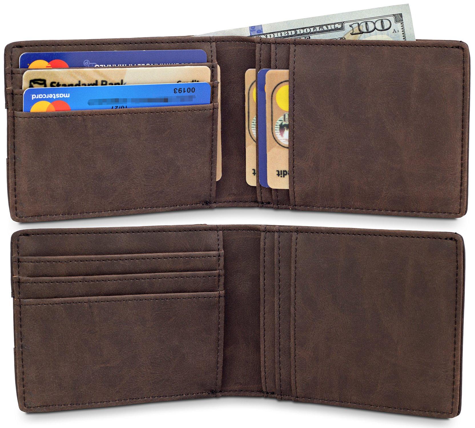 TRAVANDO Slim Wallets BUFFALO - RFID Blocking Wallet - 8 Card Pockets - Mini Credit Card Holder - Travel Wallet - Minimalist Bifold Wallet for Men with Gift Box by Travando (Image #4)