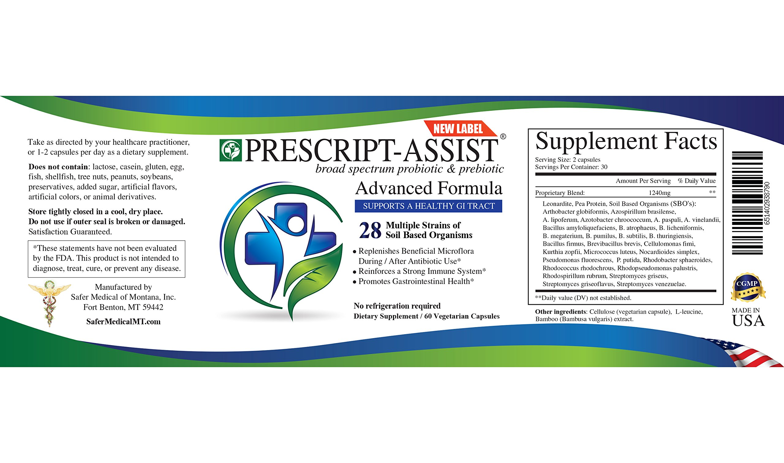 Prescript-assist Broad Spectrum soil based Probiotic Prebiotic supplements 60 Capsules X 2 (pea protein added)... by Prescript-Assist (Image #2)