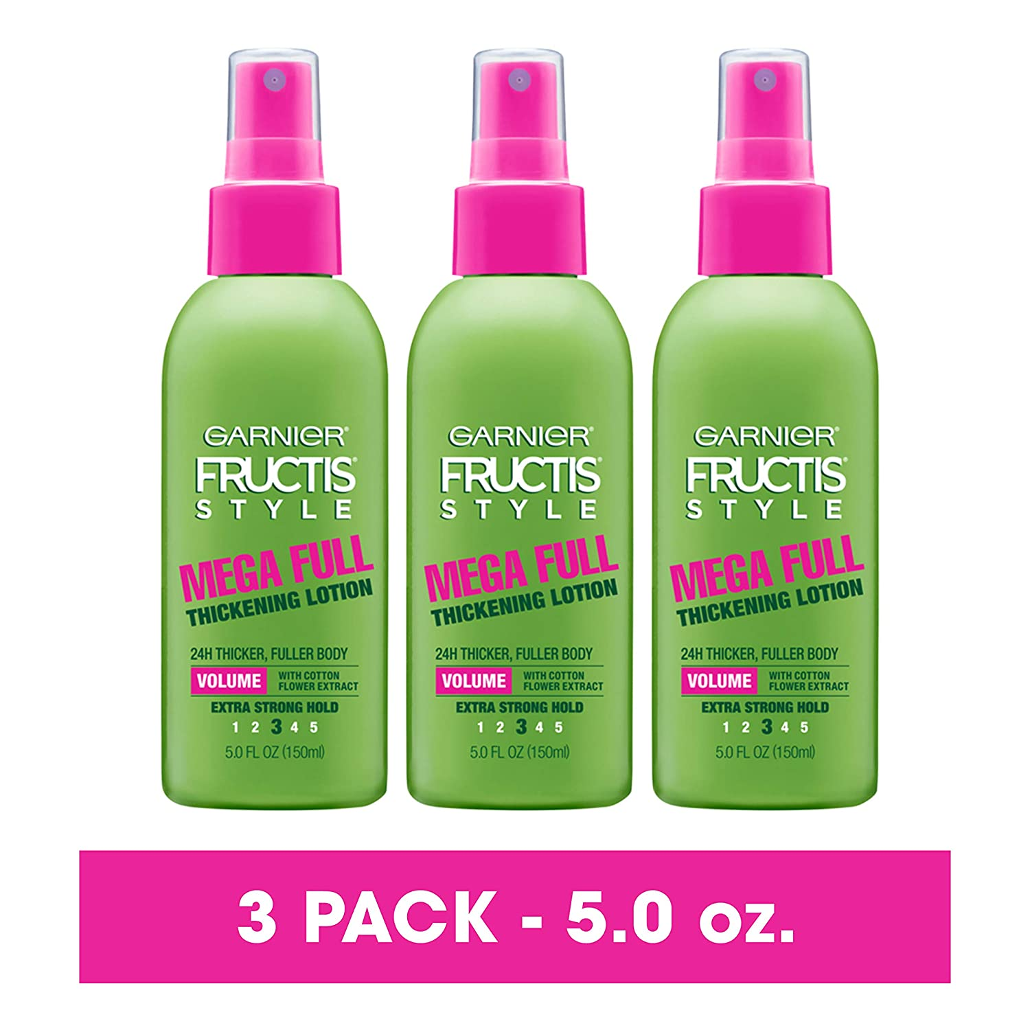 Garnier Fructis Style Mega Full Thickening Lotion for All Hair Types, 5 Ounce (3 Count)