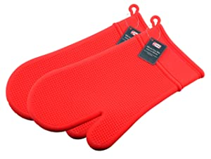 Red Silicone Oven Mitts Pair - Heat Resistant up to 428ºF - Non-Slip Kitchen Oven Gloves for Cooking, Baking, Grilling - Dishwasher Safe. By Ai-De-Chef (2-Pack, Red)