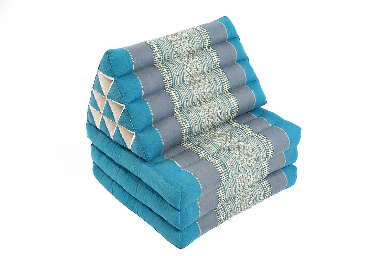 170x50 cm pieghevole colore azzuro con imbottitura in kapok con cuscino triangolare traspirante e stabile Materasso in design orientale e stile tailandese originale Handelsturm