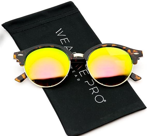 457a602412 WearMe Pro - Round Retro Semi Rimless Retro Sunglasses (Tortoise Frame Mirror  Orange-