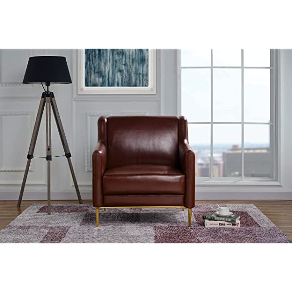 Modern Living Room Leather Armchair, Accent Chair (Brown)