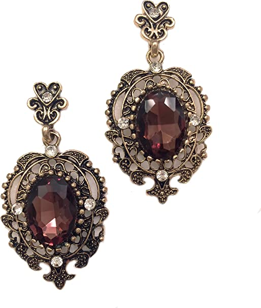 Vintage Gold Tone Filigree Bib Necklace with Dangles /& Ruby Red Rhinestones