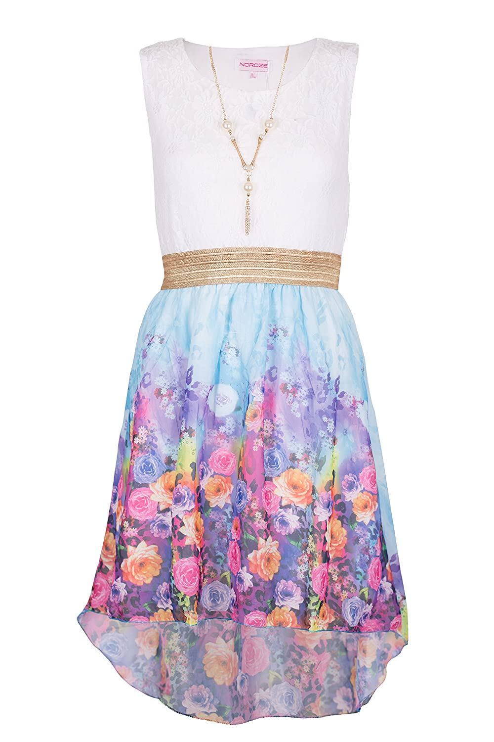 Girls Kids Summer Party Sleeveless Lace Top Floral High Low Dress 3 - 13 Years