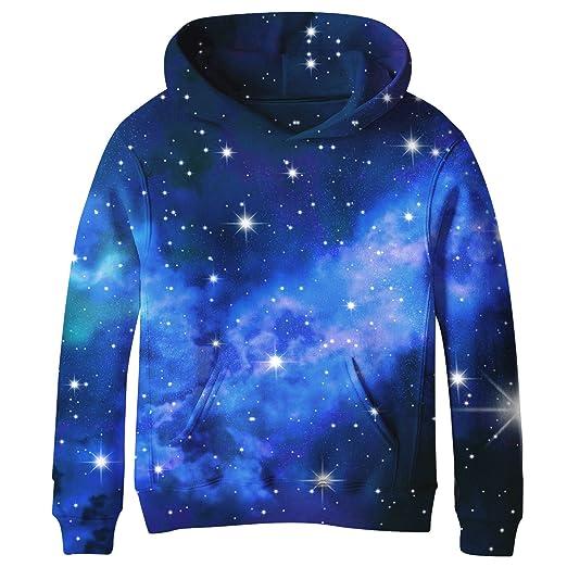 SAYM Teen Boys  Galaxy Fleece Sweatshirts Pocket Pullover Hoodies 4-16Y NO1  XS 1af122ad8c