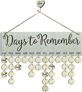 Wooden Family Birthday Reminder Calendar Board Wall Hanging, DIY Perpetual Anniversary Tracker Calendar Plaque,Days to Remember Pattern with Round Tags for Mother Grandma Birthday Gifts or Home Decor