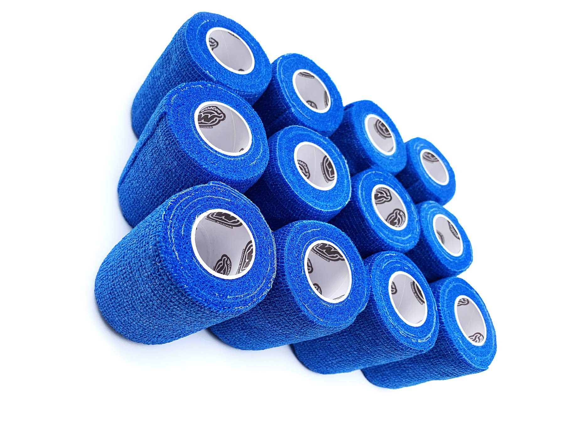 WildCow 3'' Blue Vet Wrap Tape Bulk, 12 Pack Cohesive Bandage Wrap, Self Adherent Grip Rolls by WildCow