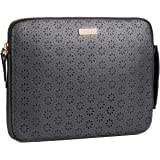 Macbook Air 13 inch Sleeve- Macbook Pro 13 inch Sleeve- Cut Laser Leather, Black