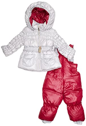 eaf8d95619 Papermoon Baby Girl s Jacket and Salopettes Snowsuit Silver  Orchid Pink 6  - 9 Months